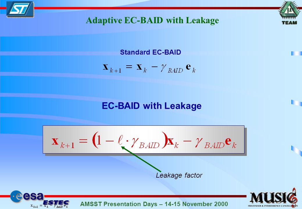 AMSST Presentation Days – 14-15 November 2000 Adaptive EC-BAID with Leakage Standard EC-BAID Leakage factor EC-BAID with Leakage