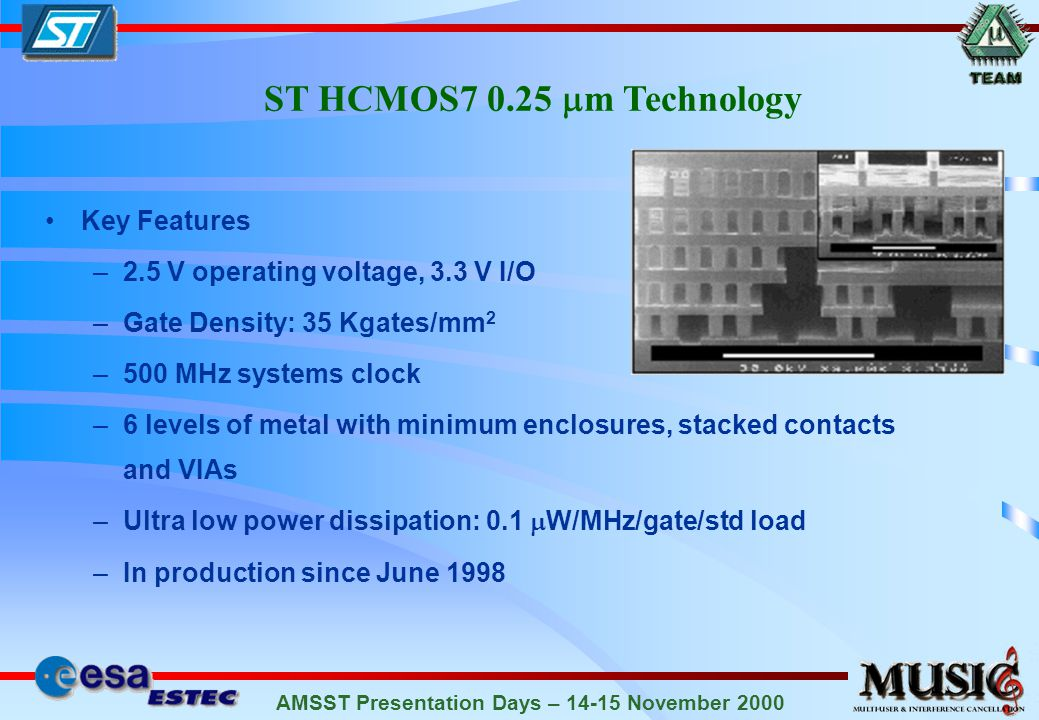 AMSST Presentation Days – 14-15 November 2000 ST HCMOS7 0.25 m Technology Key Features –2.5 V operating voltage, 3.3 V I/O –Gate Density: 35 Kgates/mm 2 –500 MHz systems clock –6 levels of metal with minimum enclosures, stacked contacts and VIAs –Ultra low power dissipation: 0.1 W/MHz/gate/std load –In production since June 1998