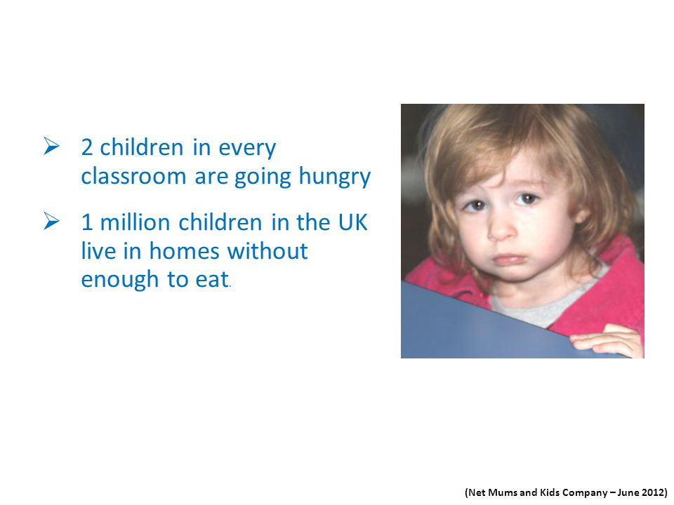 (Net Mums and Kids Company – June 2012) 2 children in every classroom are going hungry 1 million children in the UK live in homes without enough to ea