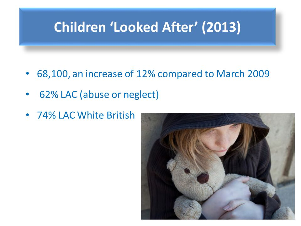 68,100, an increase of 12% compared to March 2009 62% LAC (abuse or neglect) 74% LAC White British Children Looked After (2013)