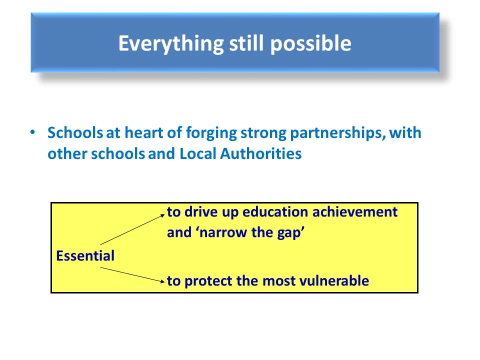 Everything still possible Schools at heart of forging strong partnerships, with other schools and Local Authorities to drive up education achievement