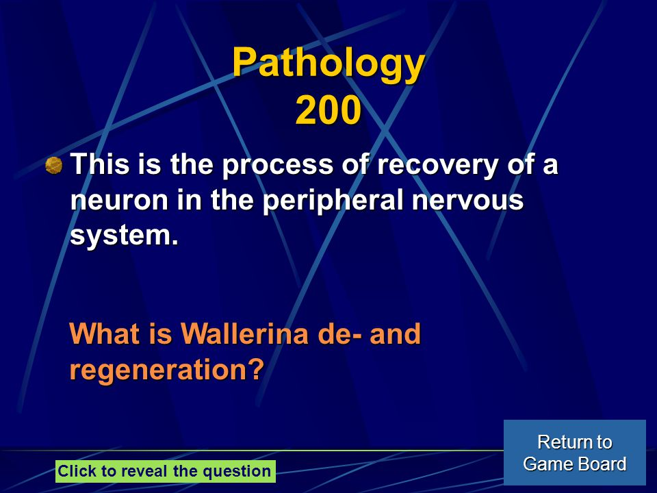 Pathology 200 This is the process of recovery of a neuron in the peripheral nervous system.