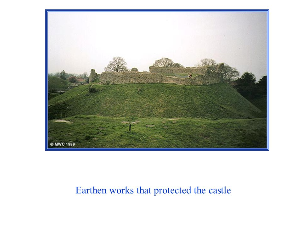 Earthen works that protected the castle