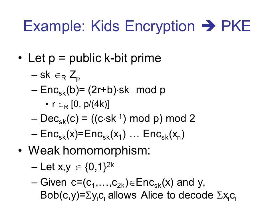 Example: Kids Encryption PKE Let p = public k-bit prime –sk R Z p –Enc sk (b)= (2r+b) sk mod p r R [0, p/(4k)] –Dec sk (c) = ((c sk -1 ) mod p) mod 2 –Enc sk (x)=Enc sk (x 1 ) … Enc sk (x n ) Weak homomorphism: –Let x,y {0,1} 2k –Given c=(c 1,…,c 2k ) Enc sk (x) and y, Bob(c,y)= y i c i allows Alice to decode x i c i