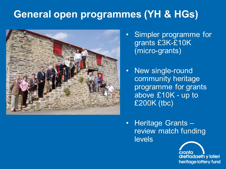 General open programmes (YH & HGs) Simpler programme for grants £3K-£10K (micro-grants) New single-round community heritage programme for grants above
