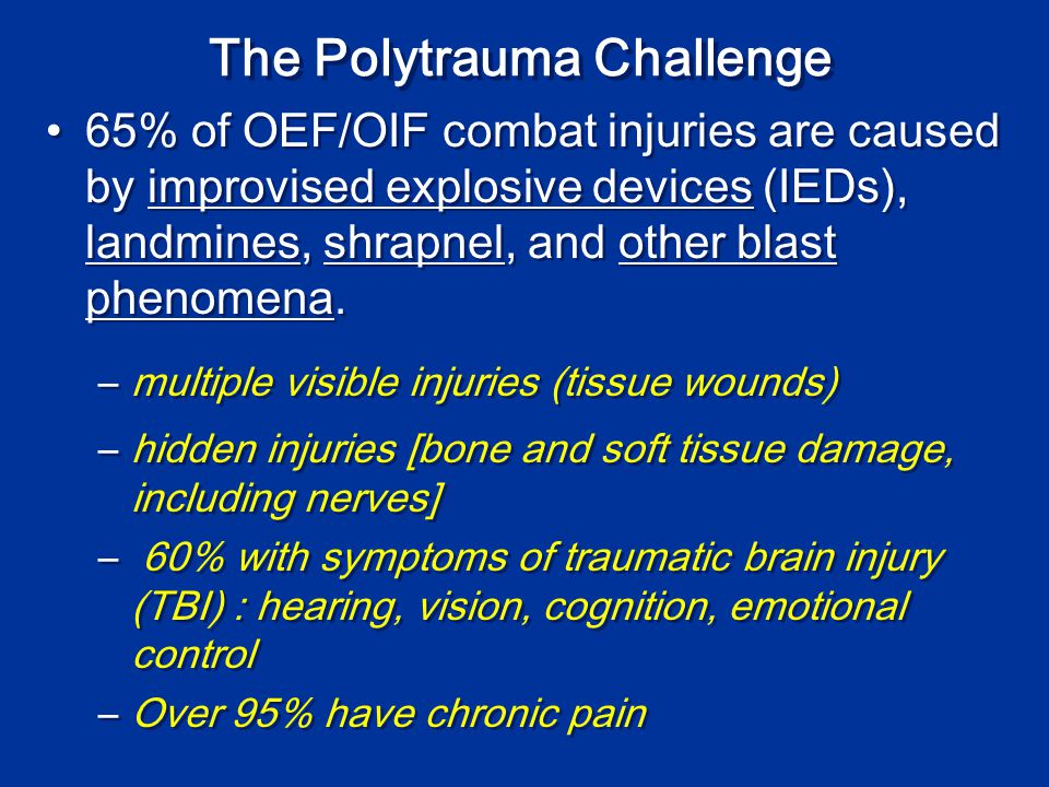 Pain in our wounded warriors (2002-2007) 686,306 OIF-OEF veterans 229,015 using VA services (33.4%) 43 % have musculoskeletal diseases (all cause pain by definition) - back pain most common 37% have mental health disorders Kang et al.