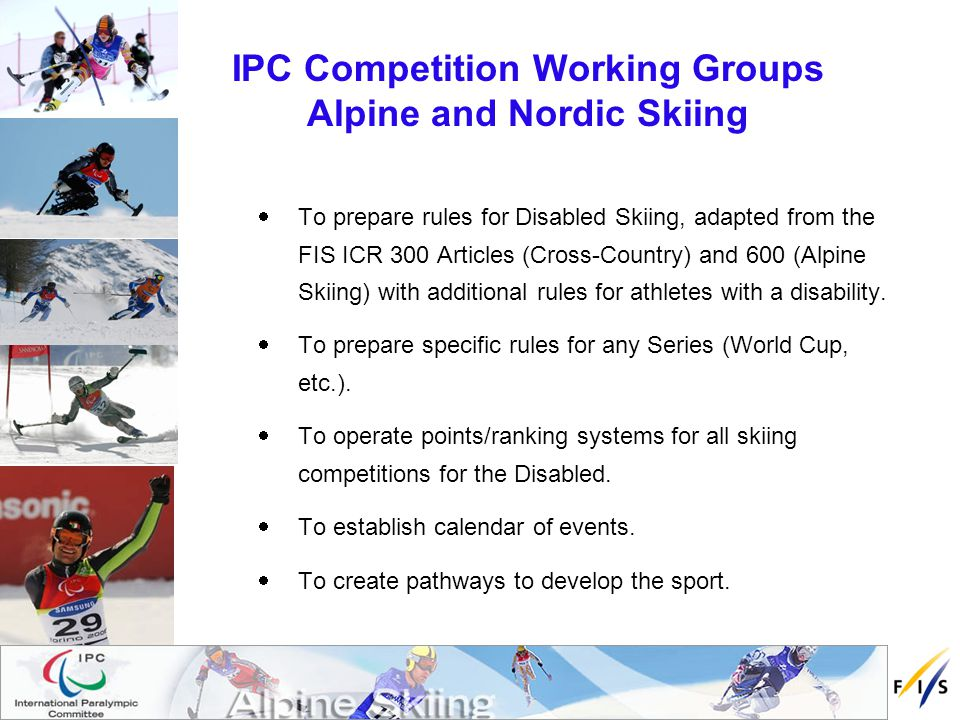 FIS Sub-Committee for Skiers with a Disability (liaison group) The FIS Sub-Committee is a group of members proposed by their National Ski Association that are also members of the respective IPC Alpine Skiing and IPC Nordic Skiing Committees and comprising a chairperson, two (2) members each for Alpine and Nordic Skiing and other FIS disciplines co- opted as its development progresses.