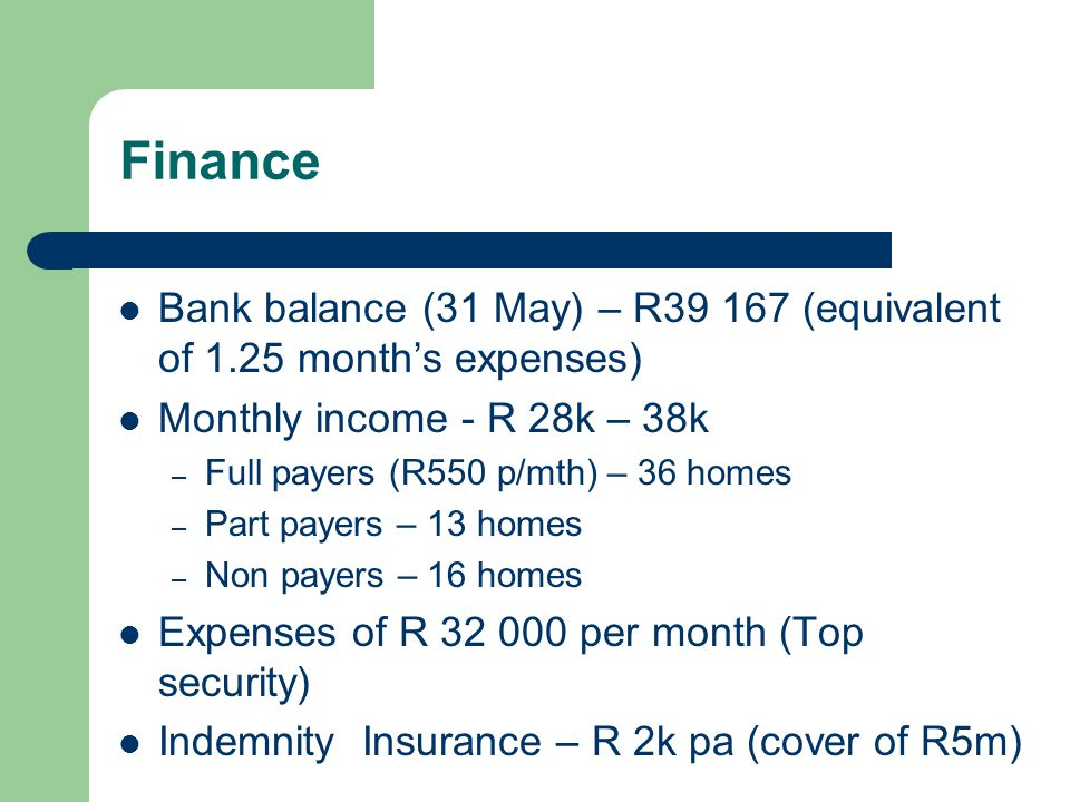 Finance Bank balance (31 May) – R39 167 (equivalent of 1.25 months expenses) Monthly income - R 28k – 38k – Full payers (R550 p/mth) – 36 homes – Part payers – 13 homes – Non payers – 16 homes Expenses of R 32 000 per month (Top security) Indemnity Insurance – R 2k pa (cover of R5m)
