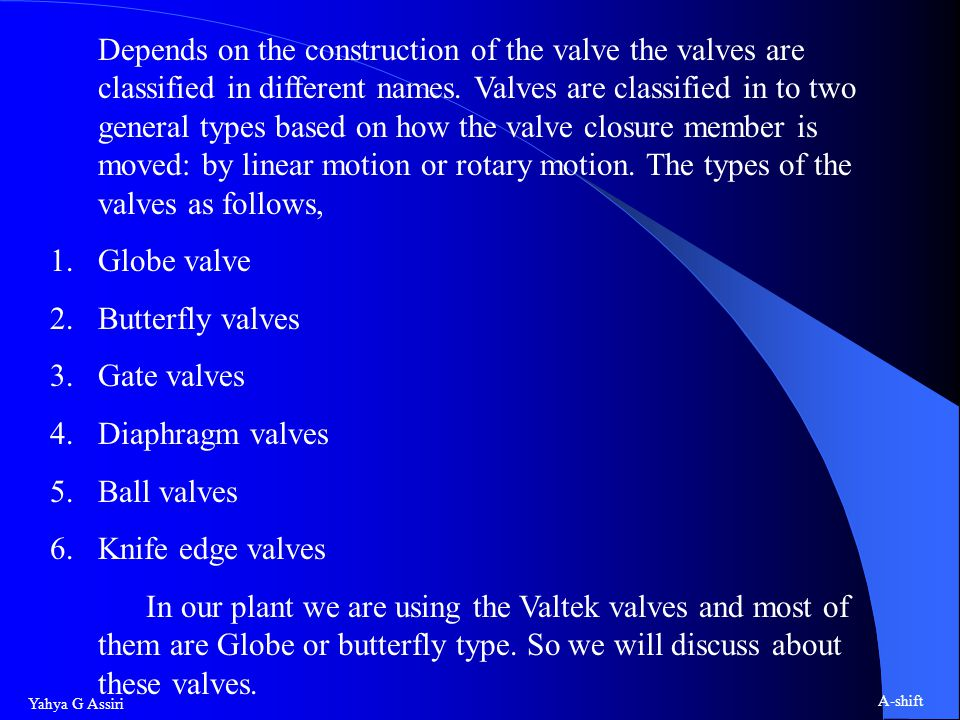 Yahya G Assiri A-shift Depends on the construction of the valve the valves are classified in different names.