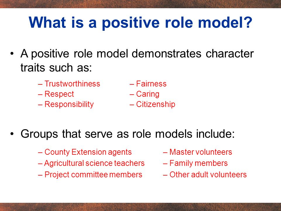 A positive role model demonstrates character traits such as: Groups that serve as role models include: What is a positive role model.