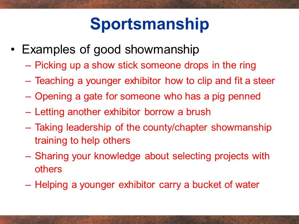 Examples of good showmanship –Picking up a show stick someone drops in the ring –Teaching a younger exhibitor how to clip and fit a steer –Opening a gate for someone who has a pig penned –Letting another exhibitor borrow a brush –Taking leadership of the county/chapter showmanship training to help others –Sharing your knowledge about selecting projects with others –Helping a younger exhibitor carry a bucket of water Sportsmanship