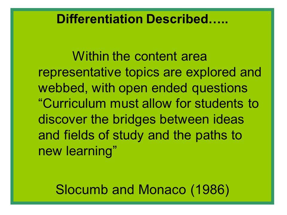 Differentiation Described…..