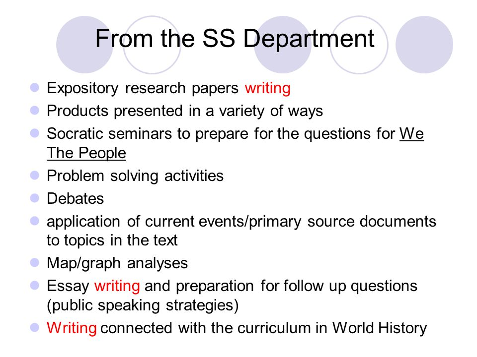 From the SS Department Expository research papers writing Products presented in a variety of ways Socratic seminars to prepare for the questions for We The People Problem solving activities Debates application of current events/primary source documents to topics in the text Map/graph analyses Essay writing and preparation for follow up questions (public speaking strategies) Writing connected with the curriculum in World History