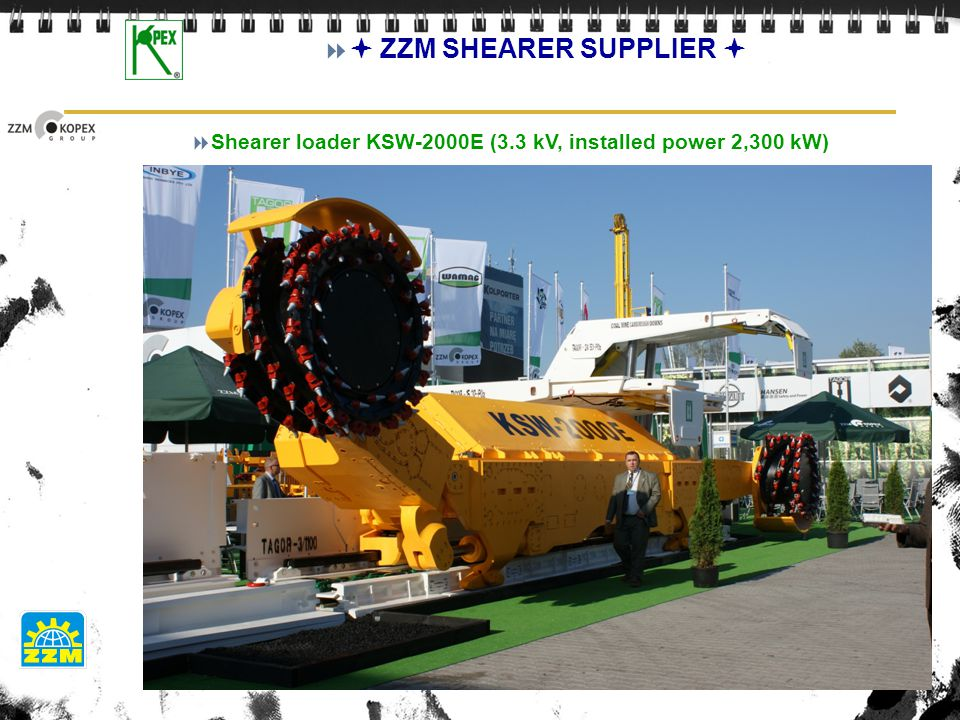 Shearer loader KSW-2000E (3.3 kV, installed power 2,300 kW)