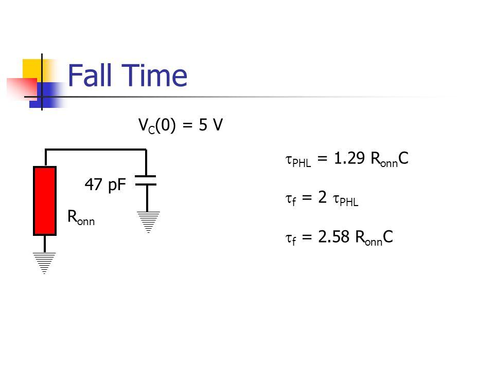 Fall Time 47 pF V C (0) = 5 V PHL = 1.29 R onn C f = 2 PHL f = 2.58 R onn C R onn