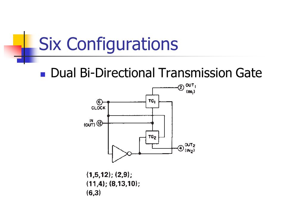 Six Configurations Dual Bi-Directional Transmission Gate