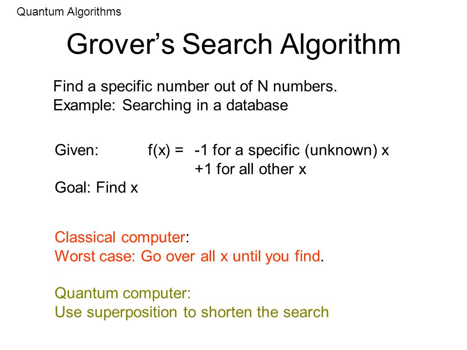 Grovers Search Algorithm Quantum Algorithms Find a specific number out of N numbers.
