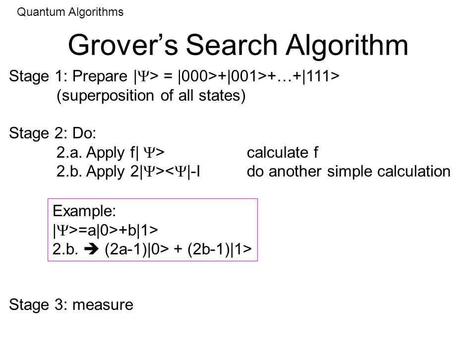 Grovers Search Algorithm Quantum Algorithms Stage 1: Prepare | > = |000>+|001>+…+|111> (superposition of all states) Stage 2: Do: 2.a.