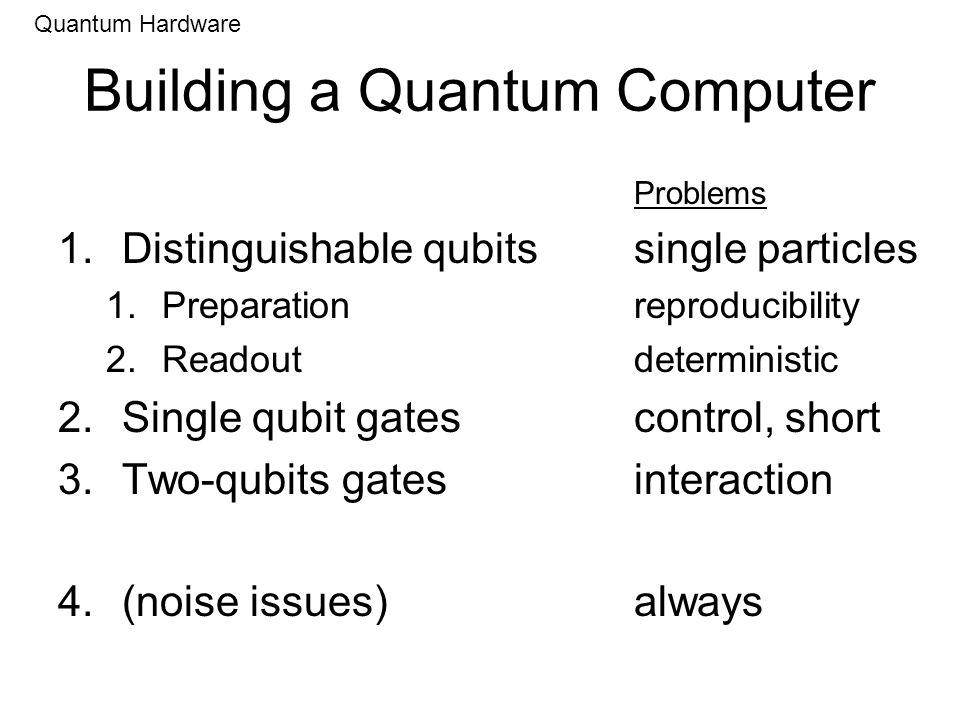Building a Quantum Computer Problems 1.Distinguishable qubitssingle particles 1.Preparationreproducibility 2.Readoutdeterministic 2.Single qubit gates
