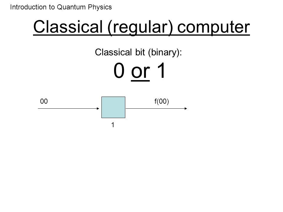 Classical (regular) computer 0 or 1 Introduction to Quantum Physics Classical bit (binary): 01 2 f(01)