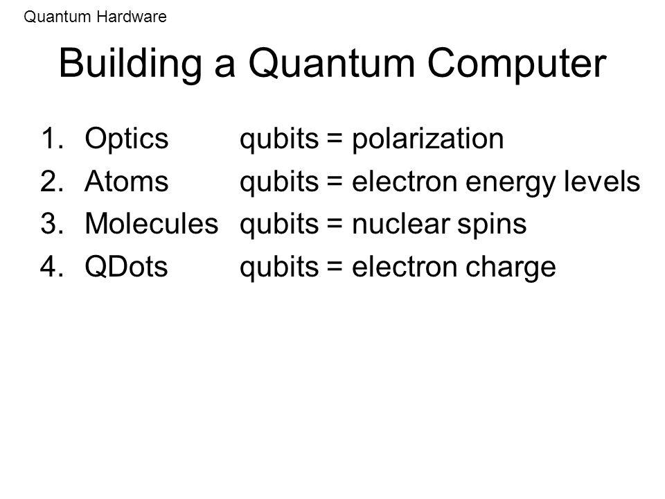 Building a Quantum Computer 1.Opticsqubits = polarization 2.Atoms qubits = electron energy levels 3.Moleculesqubits = nuclear spins 4.QDotsqubits = el