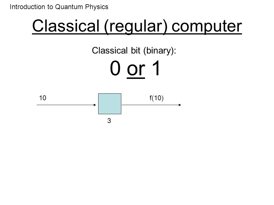 Classical (regular) computer 0 or 1 Introduction to Quantum Physics Classical bit (binary): 11 4 f(11) One computation per input number 2 N computation for N bits Computational complexity: how many computations as a function of number of bits