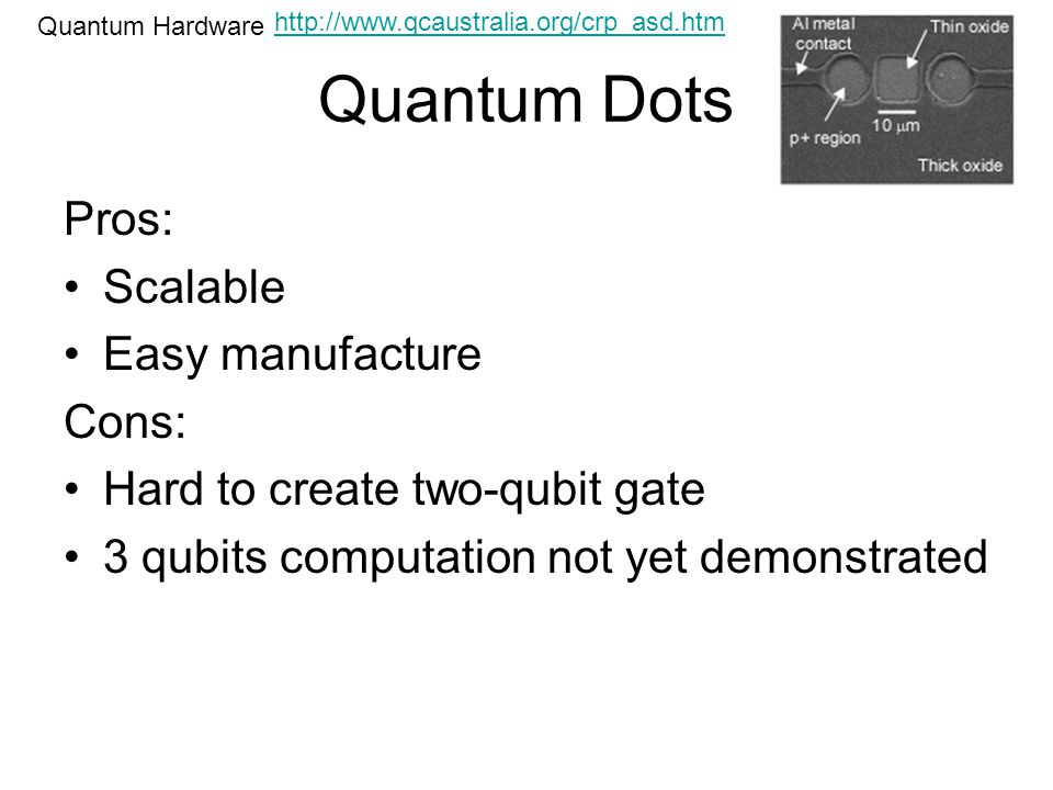 Quantum Dots Quantum Hardware Pros: Scalable Easy manufacture Cons: Hard to create two-qubit gate 3 qubits computation not yet demonstrated http://www.qcaustralia.org/crp_asd.htm