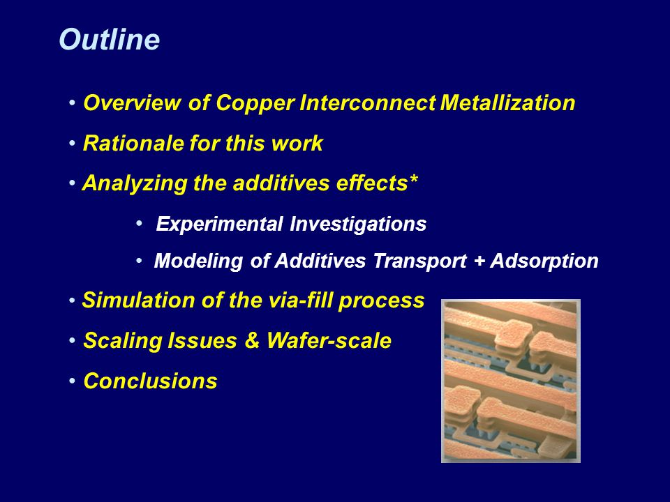Outline Overview of Copper Interconnect Metallization Rationale for this work Analyzing the additives effects* Experimental Investigations Modeling of Additives Transport + Adsorption Simulation of the via-fill process Scaling Issues & Wafer-scale Conclusions