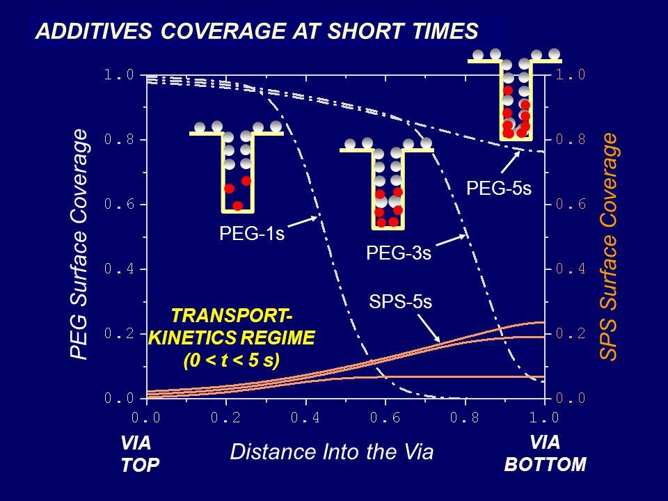 PEG-1s PEG-3s PEG-5s SPS-5s PEG Surface Coverage SPS Surface Coverage Distance Into the Via VIA TOP VIA BOTTOM TRANSPORT- KINETICS REGIME (0 < t < 5 s