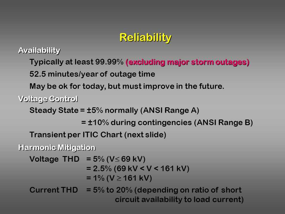 Reliability Availability (excluding major storm outages) Typically at least 99.99% (excluding major storm outages) 52.5 minutes/year of outage time Ma