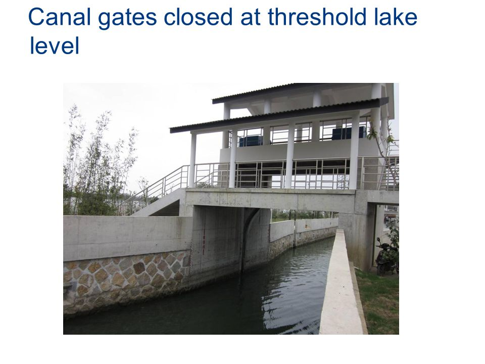 Canal gates closed at threshold lake level