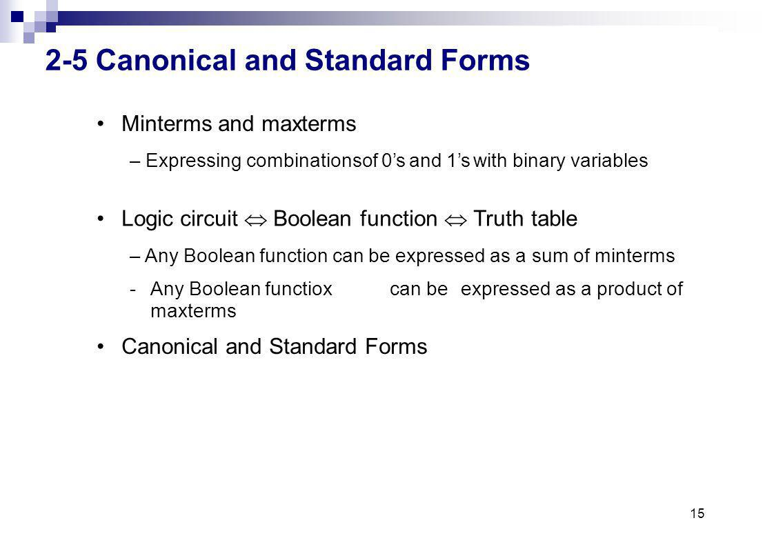 15 2-5 Canonical and Standard Forms Minterms andmaxterms – Expressing combinationsof 0sand 1swith binary variables Logic circuit Boolean function Truthtable – Any Boolean function can be expressed as a sum of minterms -Any Boolean functioxcan beexpressed as a product of maxterms Canonical and Standard Forms