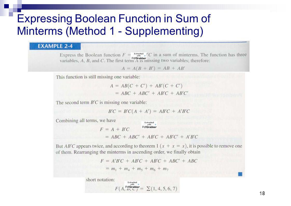 18 Expressing Boolean Function in Sum of Minterms (Method 1 - Supplementing)