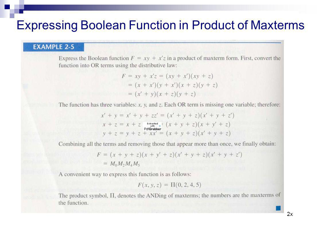 Expressing Boolean Function in Product ofMaxterms 2x