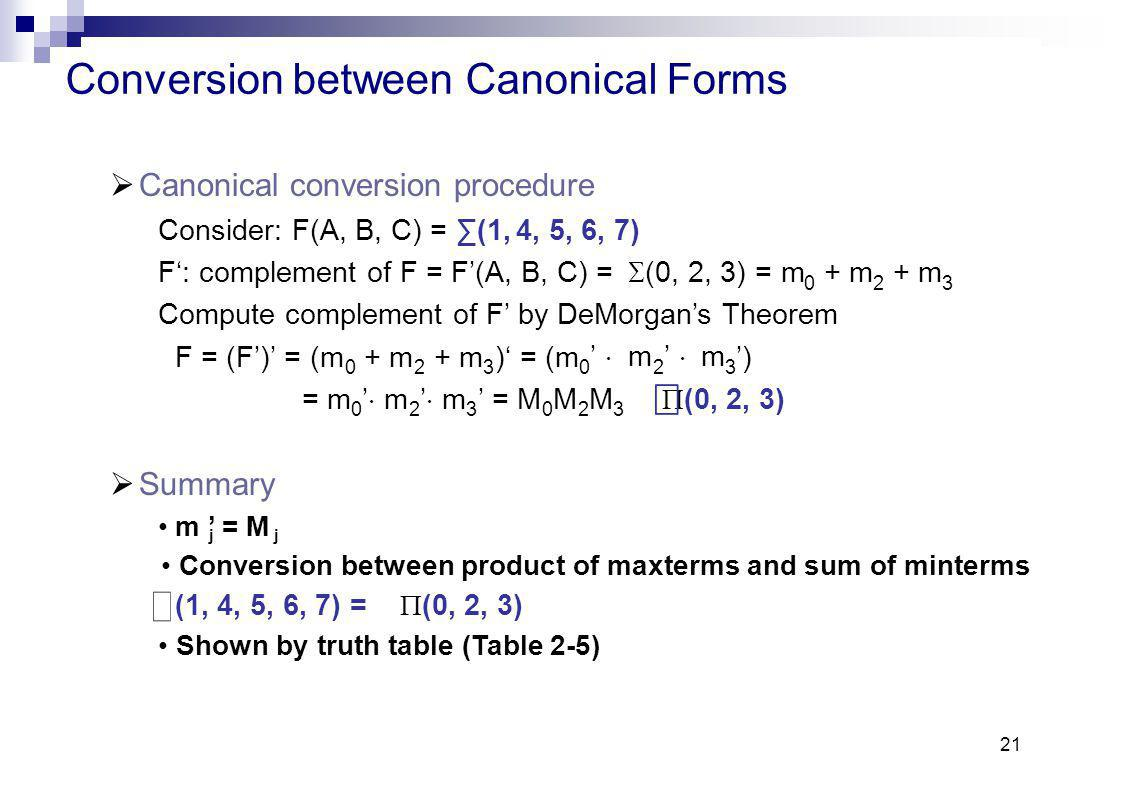21 Conversion between Canonical Forms Canonical conversion procedure Consider: F(A, B, C) =(1,4, 5, 6, 7) F:complement of F = F(A, B, C) = (0, 2, 3) =m 023023 Compute complement of F by DeMorgans Theorem + m F = (F) = (m 023023023023 +m+m+m+m)= (m mm ) =m=m 023023023023 mm = MMM (0, 2, 3) Summary m = M j Conversion between product of maxterms and sum of minterms (1, 4, 5, 6, 7) = (0, 2, 3) Shown by truth table (Table 2-5)
