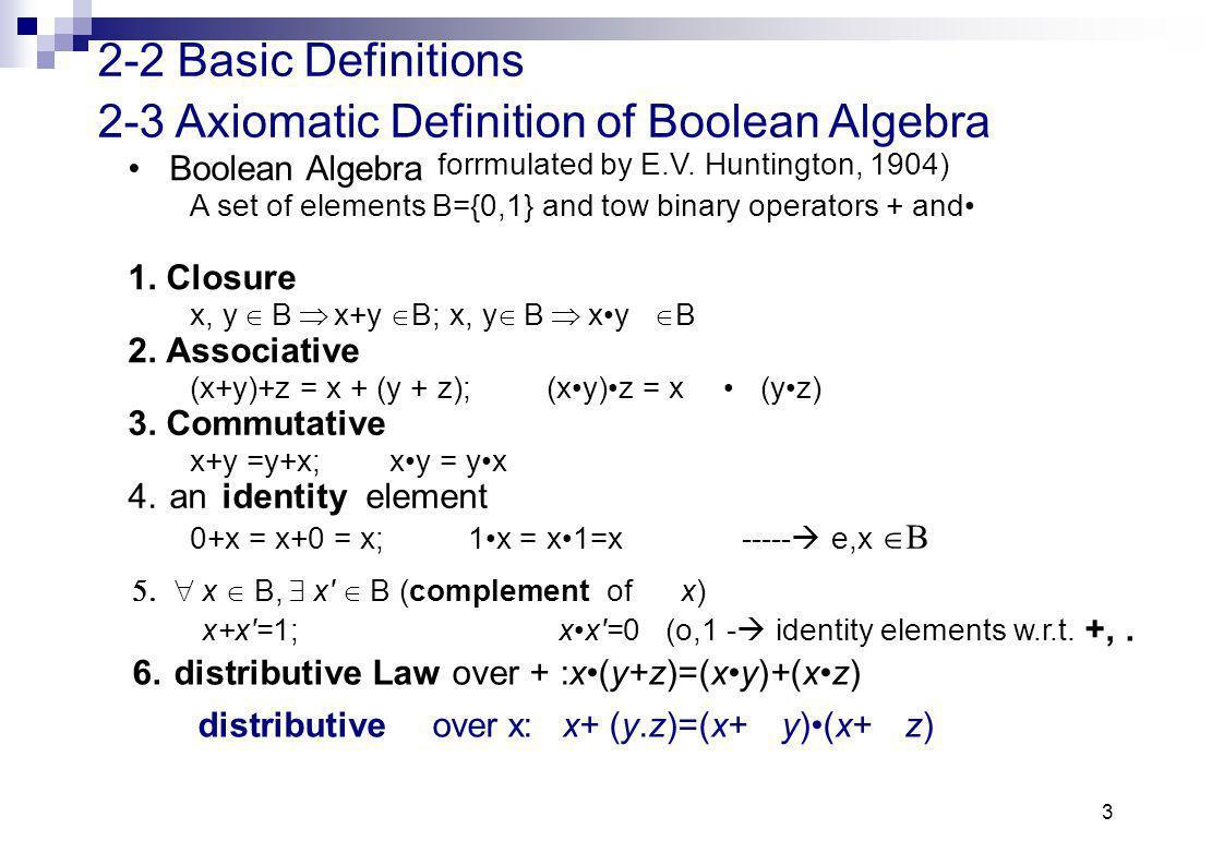 3 2-2 Basic Definitions Boolean Algebra forrmulated by E.V.