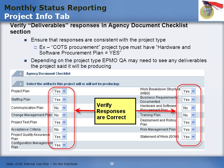 32 State of NC Internal Use Only – Do Not Distribute Verify Deliverables responses in Agency Document Checklist section Ensure that responses are consistent with the project type Ex – COTS procurement project type must have Hardware and Software Procurement Plan = YES Depending on the project type EPMO QA may need to see any deliverables the project said it will be producing Monthly Status Reporting Project Info Tab