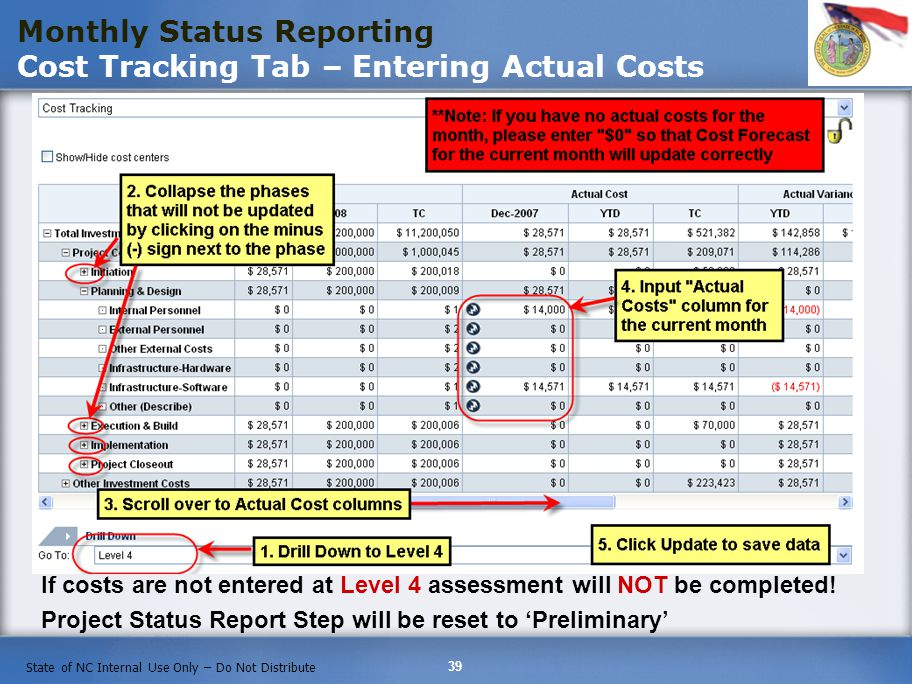 39 State of NC Internal Use Only – Do Not Distribute Monthly Status Reporting Cost Tracking Tab – Entering Actual Costs If costs are not entered at Level 4 assessment will NOT be completed.