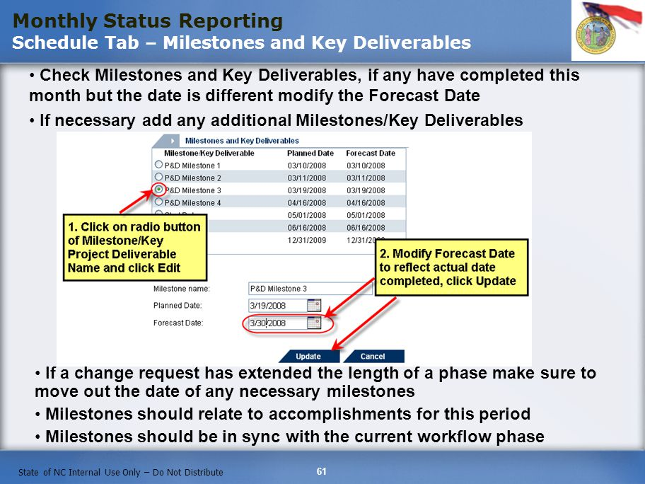 61 State of NC Internal Use Only – Do Not Distribute Check Milestones and Key Deliverables, if any have completed this month but the date is different modify the Forecast Date If necessary add any additional Milestones/Key Deliverables Monthly Status Reporting Schedule Tab – Milestones and Key Deliverables If a change request has extended the length of a phase make sure to move out the date of any necessary milestones Milestones should relate to accomplishments for this period Milestones should be in sync with the current workflow phase