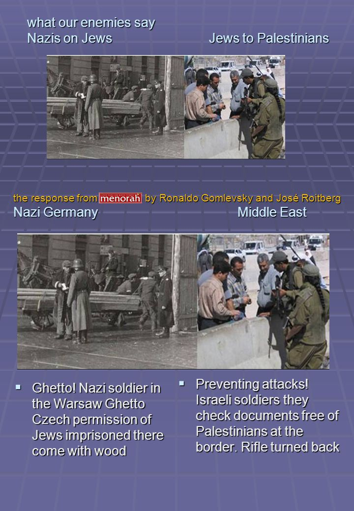 what our enemies say Nazis on Jews Jews to Palestinians Ghetto.