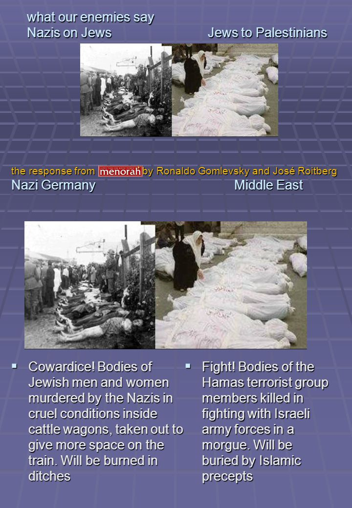 what our enemies say Nazis on Jews Jews to Palestinians Cowardice! Bodies of Jewish men and women murdered by the Nazis in cruel conditions inside cat