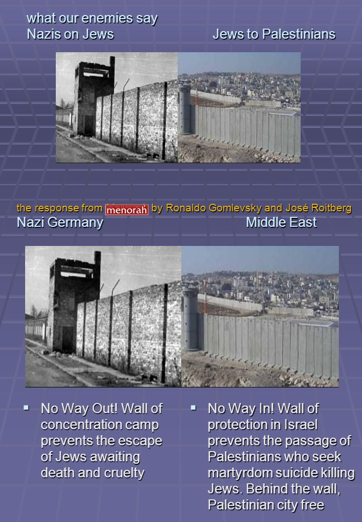 what our enemies say Nazis on Jews Jews to Palestinians Misery.