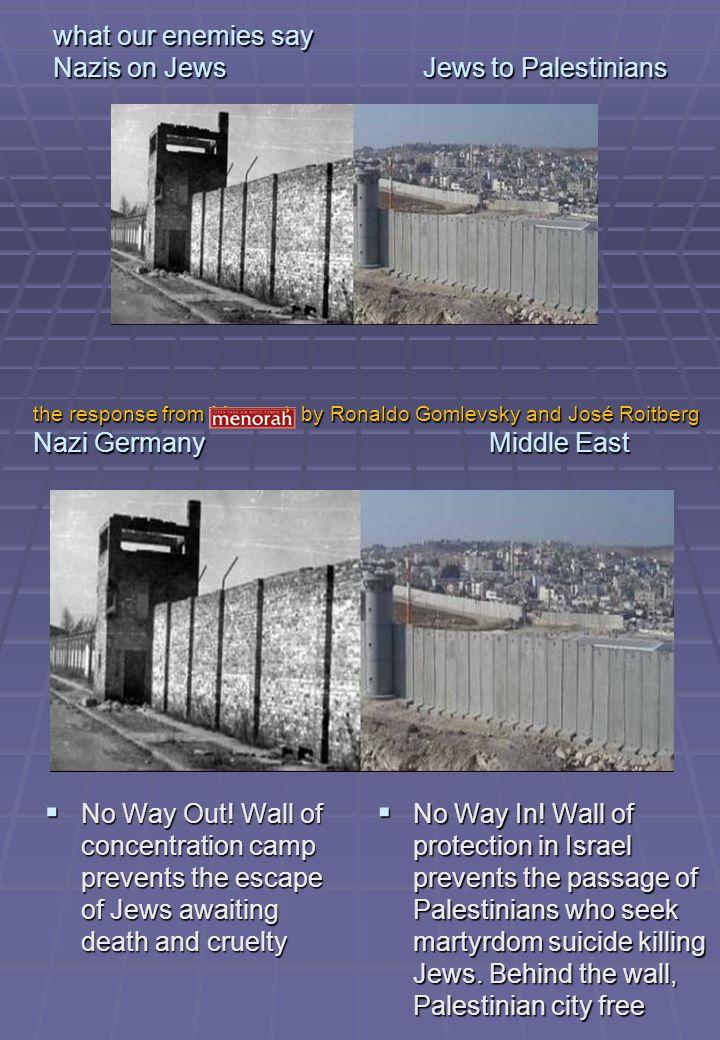 what our enemies say Nazis on Jews Jews to Palestinians Cowardice.