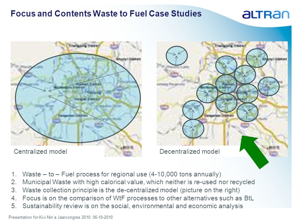 Presentation for Kivi Niri a Jaarcongres 2010: 06-10-2010 Focus and Contents Waste to Fuel Case Studies 1.Waste – to – Fuel process for regional use (4-10,000 tons annually) 2.Municipal Waste with high calorical value, which neither is re-used nor recycled 3.Waste collection principle is the de-centralized model (picture on the right) 4.Focus is on the comparison of WtF processes to other alternatives such as BtL 5.Sustainability review is on the social, environmental and economic analysis Centralized modelDecentralized model