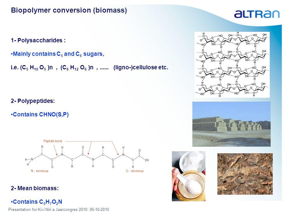 Presentation for Kivi Niri a Jaarcongres 2010: 06-10-2010 Biopolymer conversion (biomass) 1- Polysaccharides : Mainly contains C 5 and C 6 sugars, i.e.