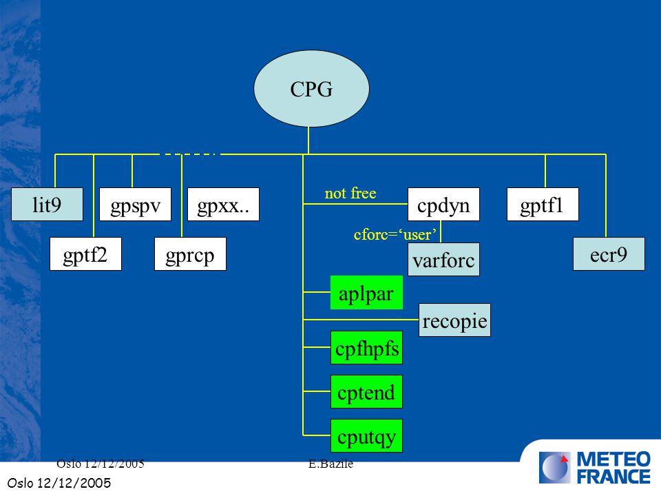 E.Bazile CPG lit9 gptf2 gpspv gprcp gpxx..cpdyn varforc aplpar cpfhpfs cptend cputqy ecr9 gptf1 recopie not free cforc=user Oslo 12/12/2005
