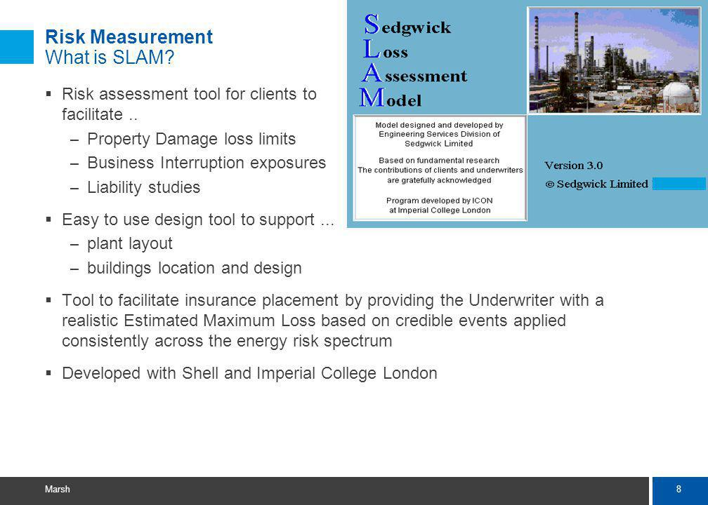 8 Marsh Risk Measurement What is SLAM.Risk assessment tool for clients to facilitate..