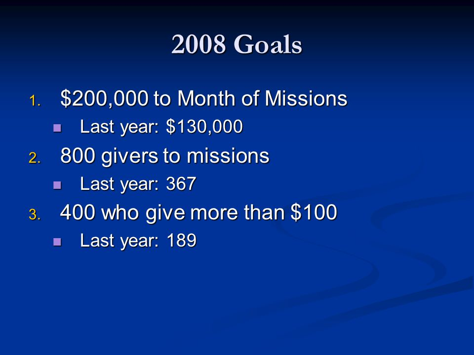 2008 Goals 1. $200,000 to Month of Missions Last year: $130,000 Last year: $130,000 2.