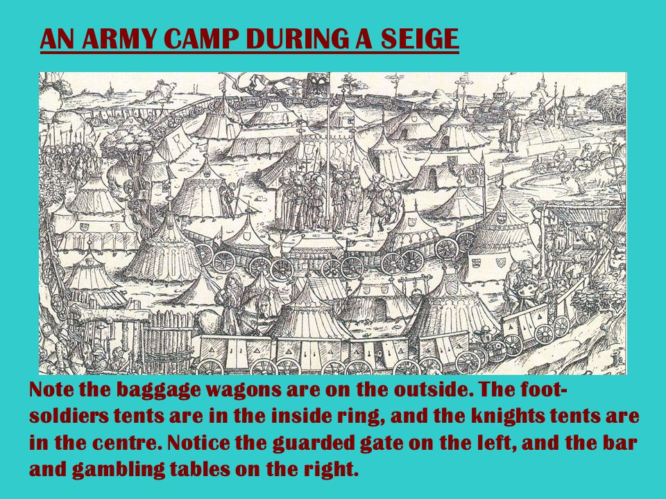 AN ARMY PREPARES TO BESEIGE A CASTLE What items can you see being loaded on to the wagons?