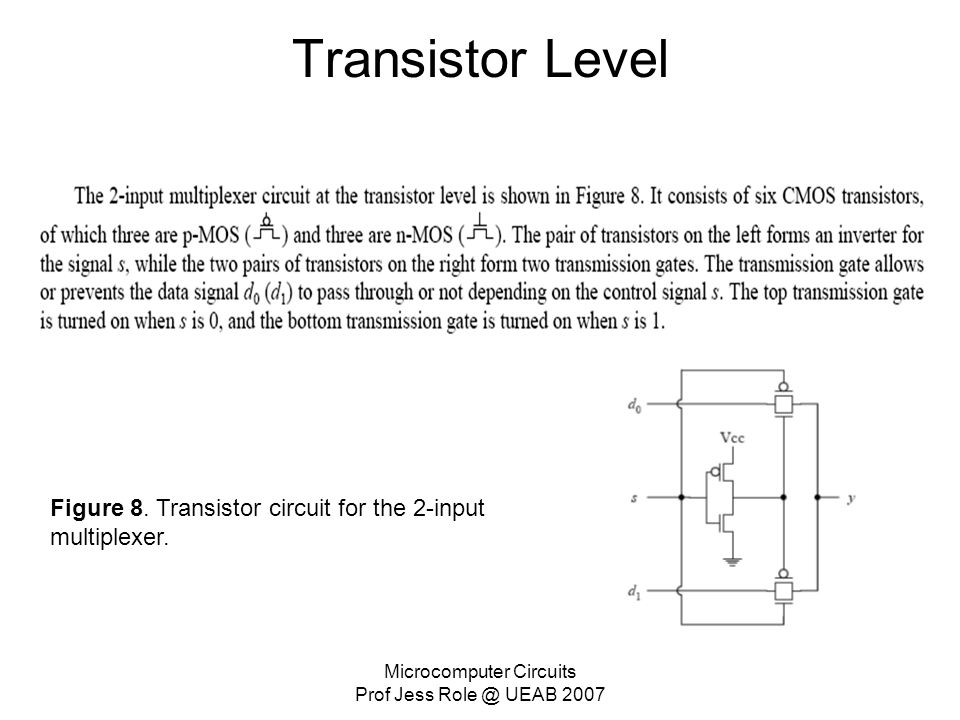 Microcomputer Circuits Prof Jess Role @ UEAB 2007 Transistor Level Figure 8. Transistor circuit for the 2-input multiplexer.